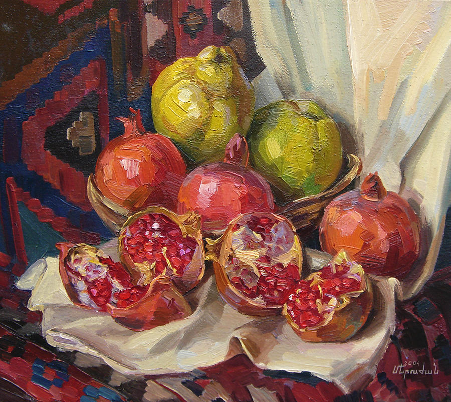 Still Life With Pomegranates And Quinces Painting byPersian Pomegranate Art