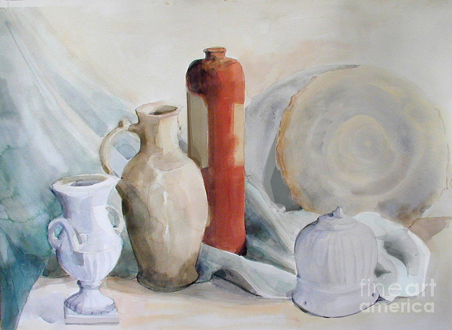 Still Life Watercolor Painting - Still Life With Pottery And Stone by Greta Corens
