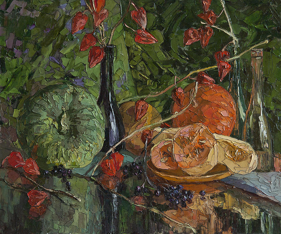 Still Life With Pumpkins And Winter Cherry Painting by Sergey Sovkov