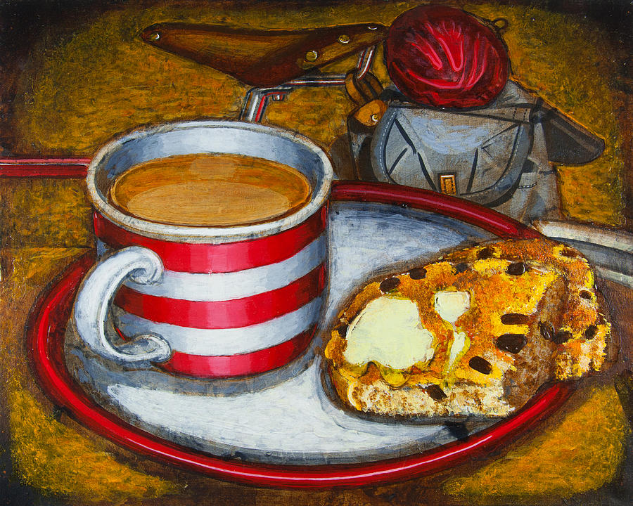 Tea Painting - Still Life With Red Touring Bike by Mark Howard Jones