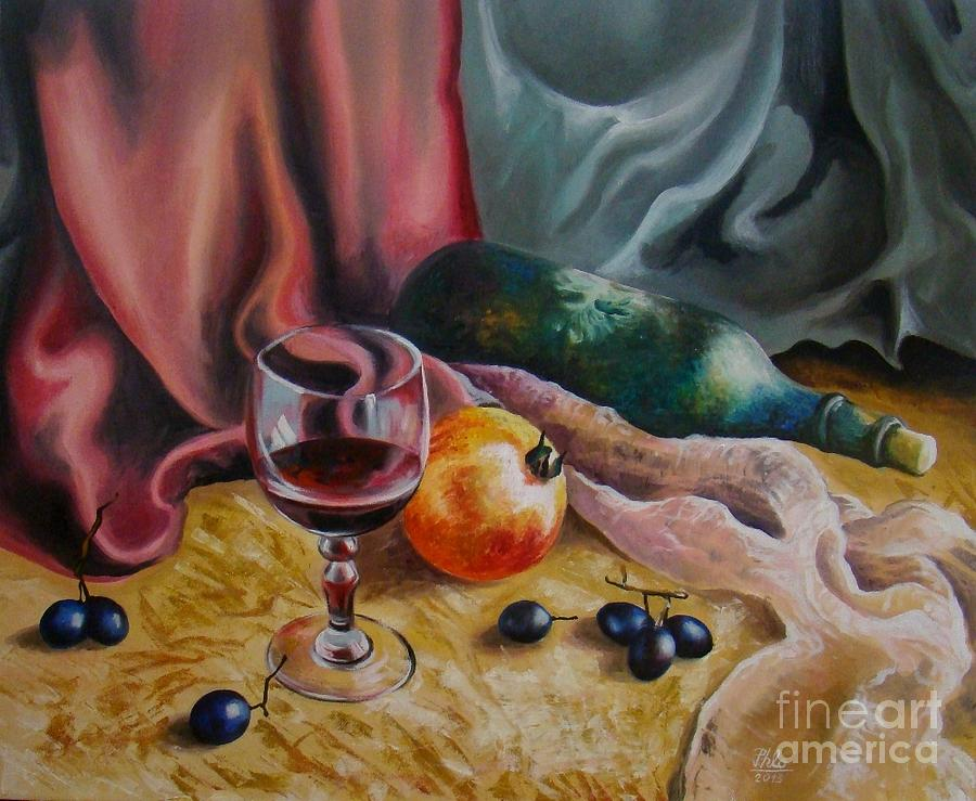 Wine Painting - Still Life With Red Wine by Stan Florin