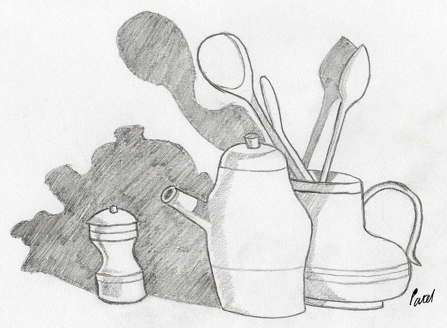 Still Life Drawing - Still Life With Shadows by Bav Patel