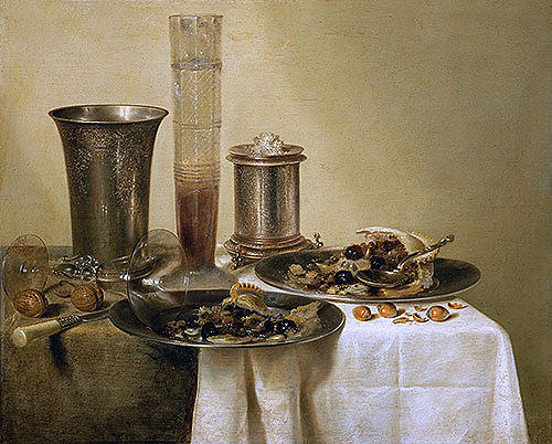 Painting Reproduction Painting - Still Life With Silver Goblets 1637 by Willem Claesz Heda