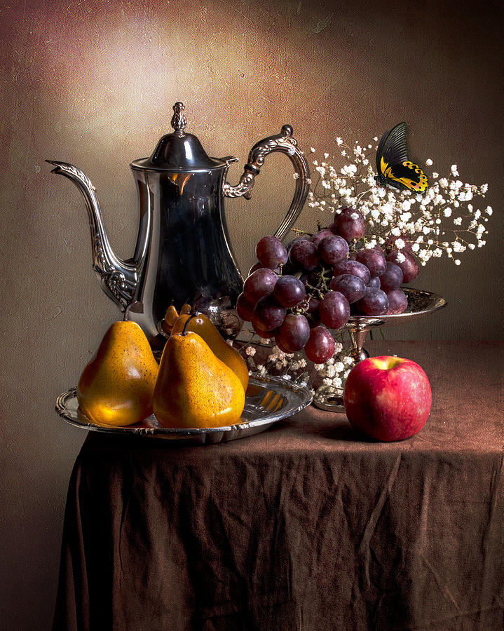 Still life with Silverware-Fruit and Butterfly Photograph ...