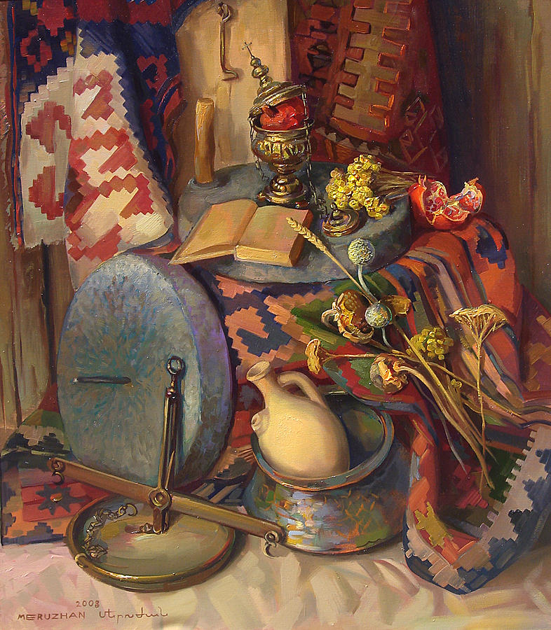 Still-life Painting - Still Life With Special Stones For Getting Wheat Flour by Meruzhan Khachatryan