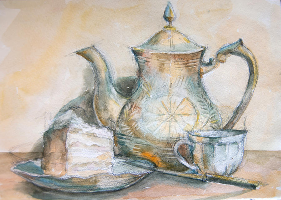 Still Life With Tea And Piece Of Cake Drawing