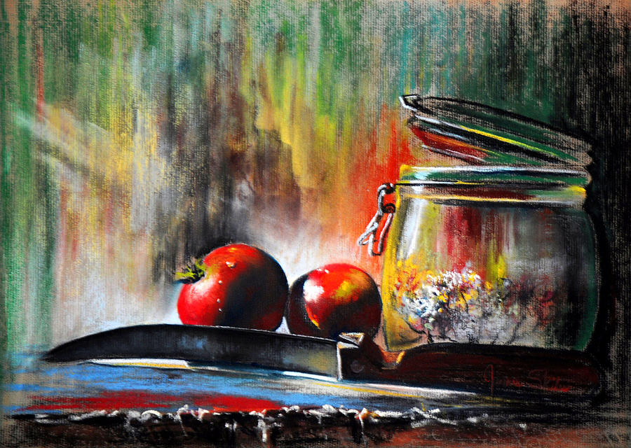 Pastel Drawing - Still Life With Tomatoes by James Skiles