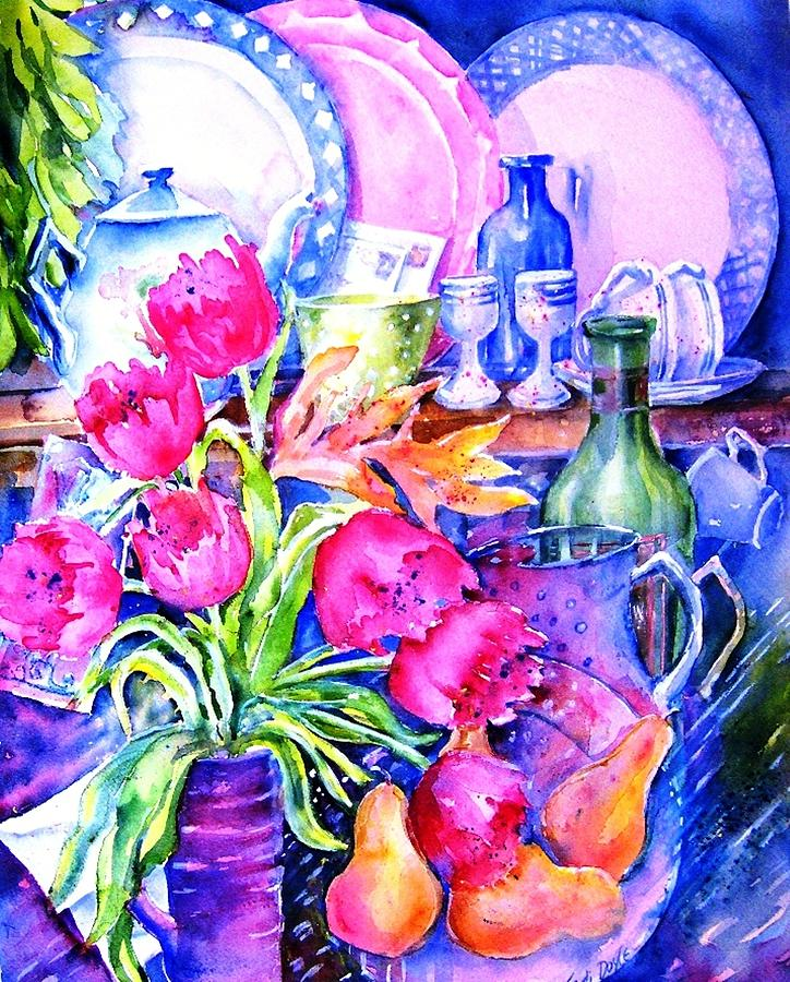 Tulips Painting - Still Life With Tulips  by Trudi Doyle