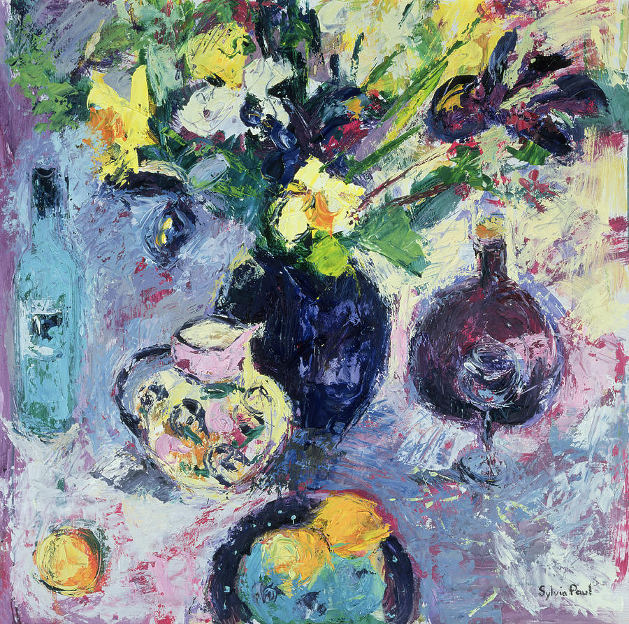 Vase Of Flowers Painting - Still Life With Turquoise Bottle by Sylvia Paul