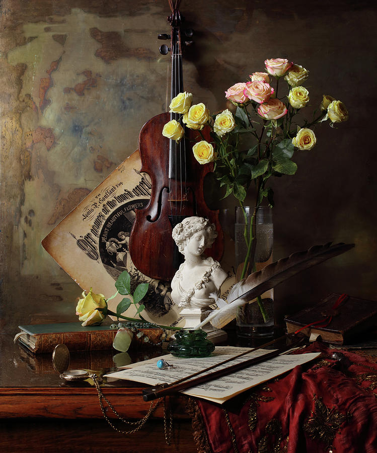 Illustration Photograph - Still Life With Violin And Bust by Andrey Morozov