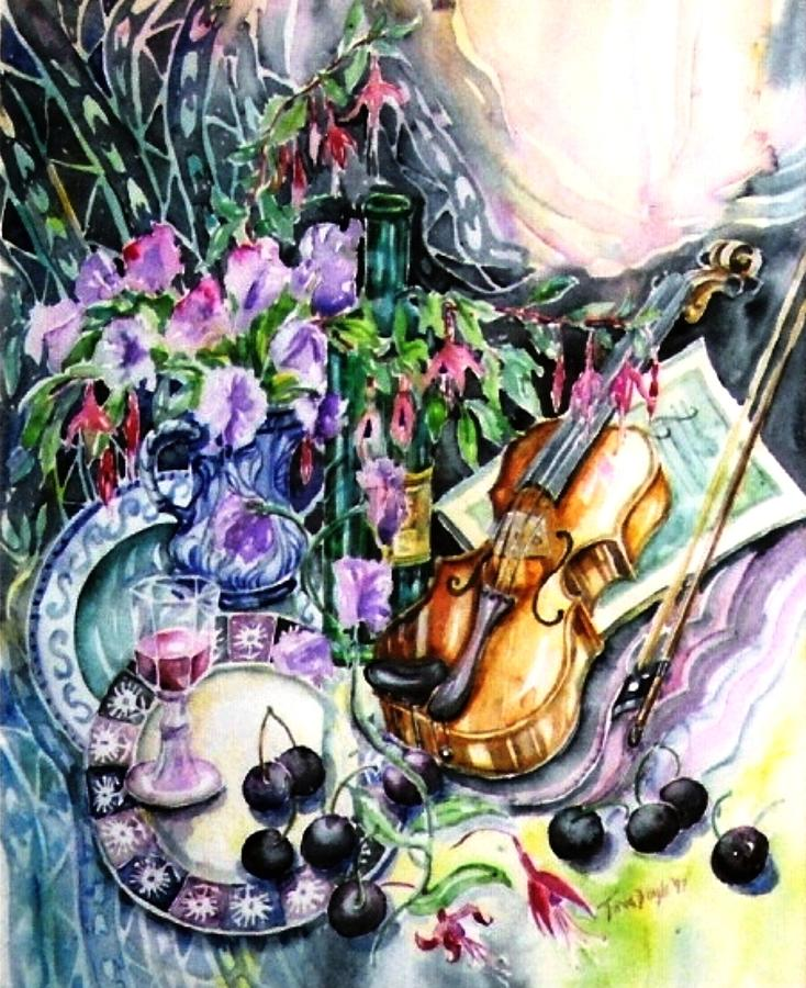 Still Life Painting - Still Life With Violin And Cherries by Trudi Doyle