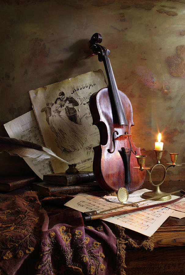 Music Photograph - Still Life With Violin by Andrey Morozov