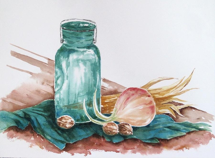 Still Life Painting - Still Life With Walnuts by Renee Goularte