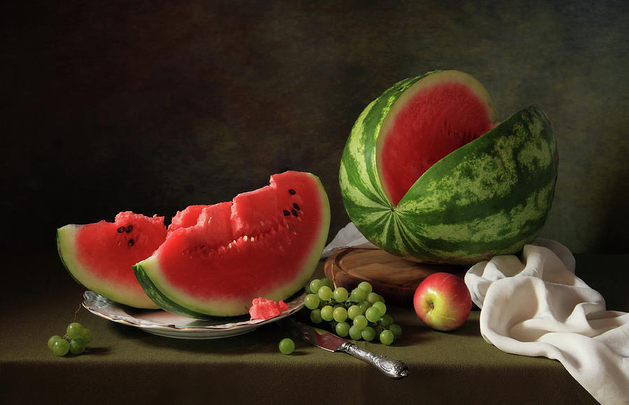 Melon Photograph - Still Life With Watermelon And Grapes by ??????????? ??????????