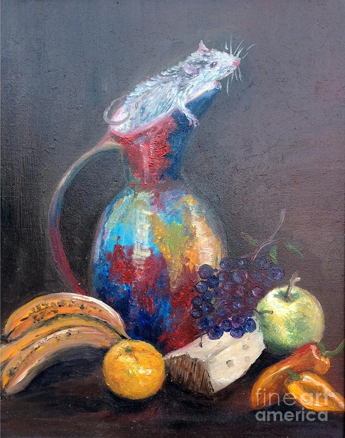 Mouse Painting - Still Life With White Mouse by Irene Pomirchy