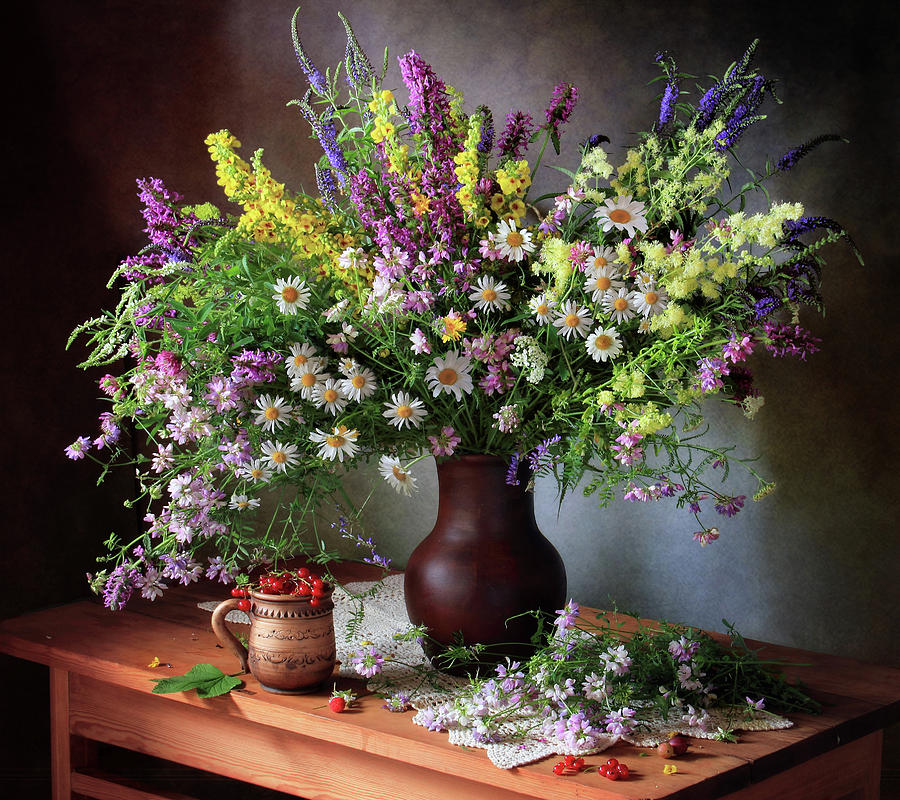 Vase Photograph - Still Life With Wildflowers And Berries by ??????????? ??????????