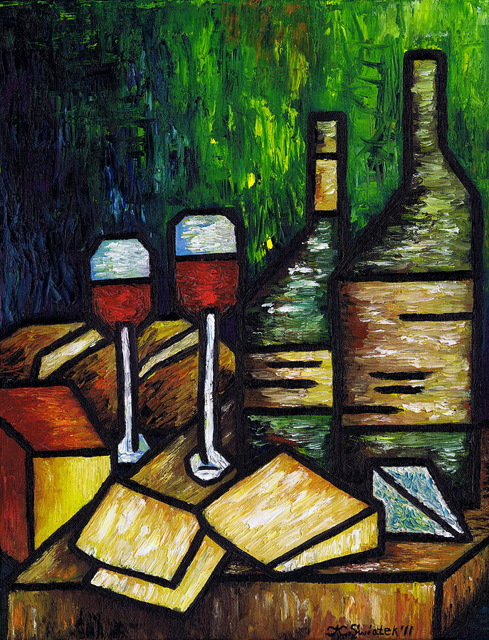 Still Life Painting - Still Life With Wine And Cheese by Kamil Swiatek