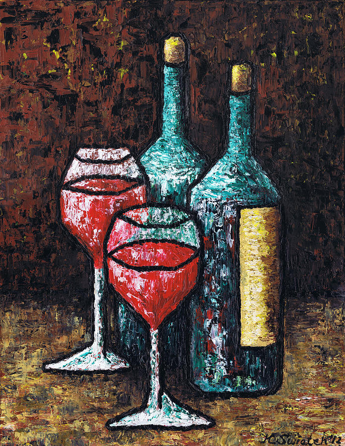 Still Life Painting - Still Life With Wine by Kamil Swiatek