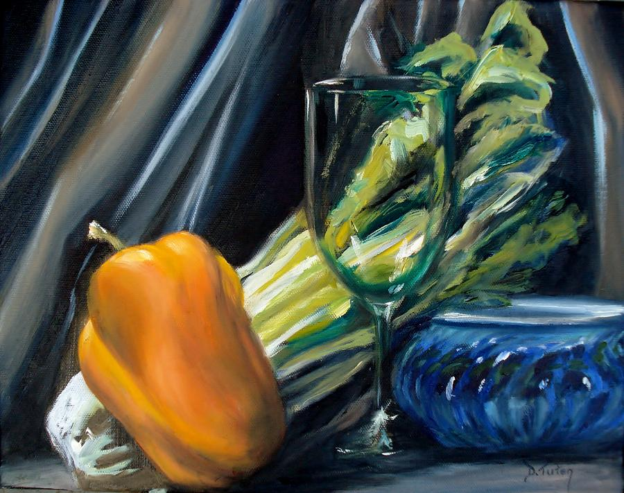 Still Life Painting - Still Life With Yellow Pepper Bok Choy Glass And Dish by Donna Tuten