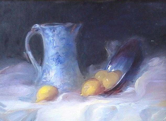 Still Life Painting - Still Life With Yellows And Blues by Patricia Kimsey Bollinger