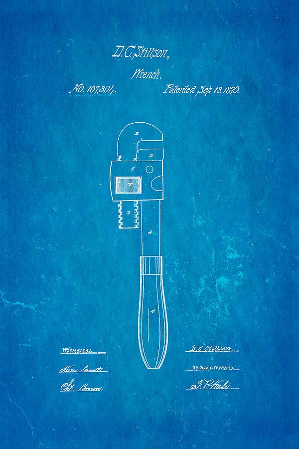 Construction Photograph - Stillson Wrench Patent Art 1870 Blueprint by Ian Monk