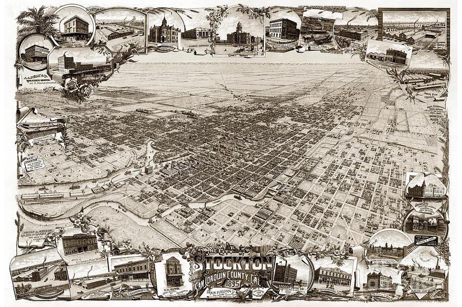 Stockton Photograph - Stockton San Joaquin County California  1895 by California Views Mr Pat Hathaway Archives