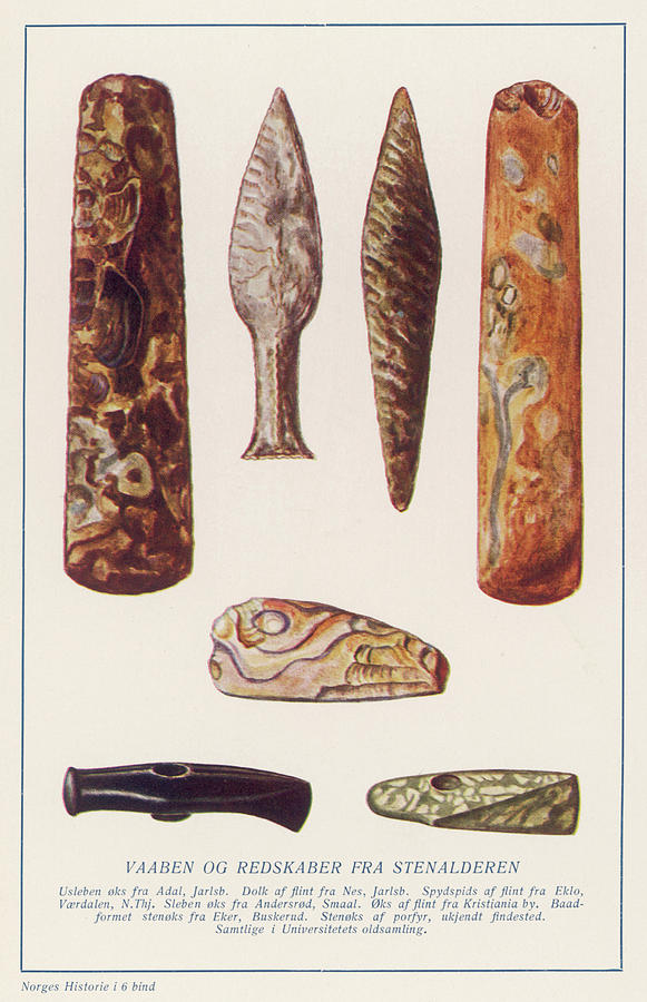Stone Drawing - Stone Age Artifacts From Norway - Tools by Mary Evans Picture Library