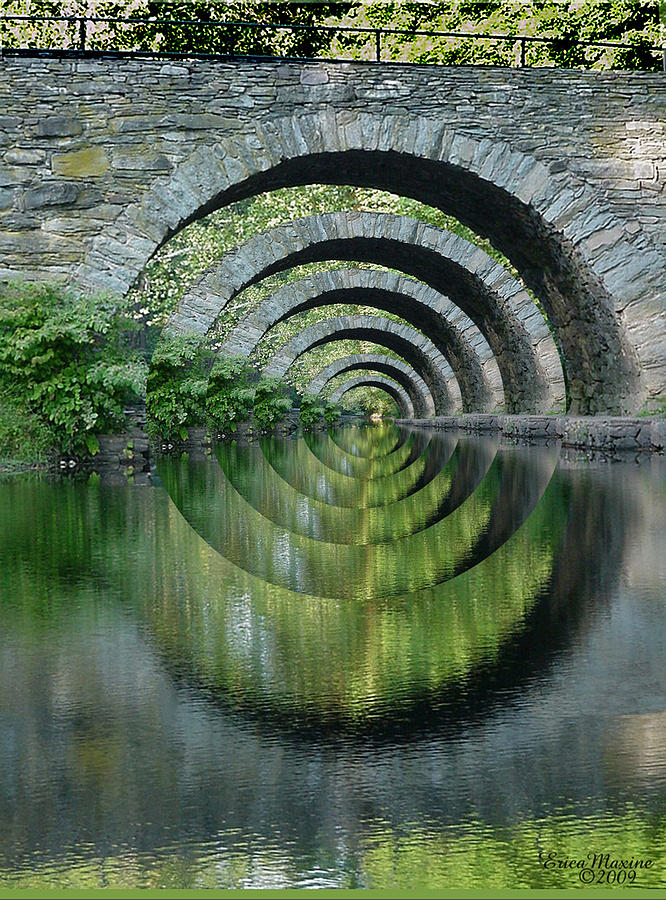 Sullivan County Photograph - Stone Arch Bridge Over Troubled Waters - 1st Place Winner Faa Optical Illusions 2-26-2012 by EricaMaxine  Price