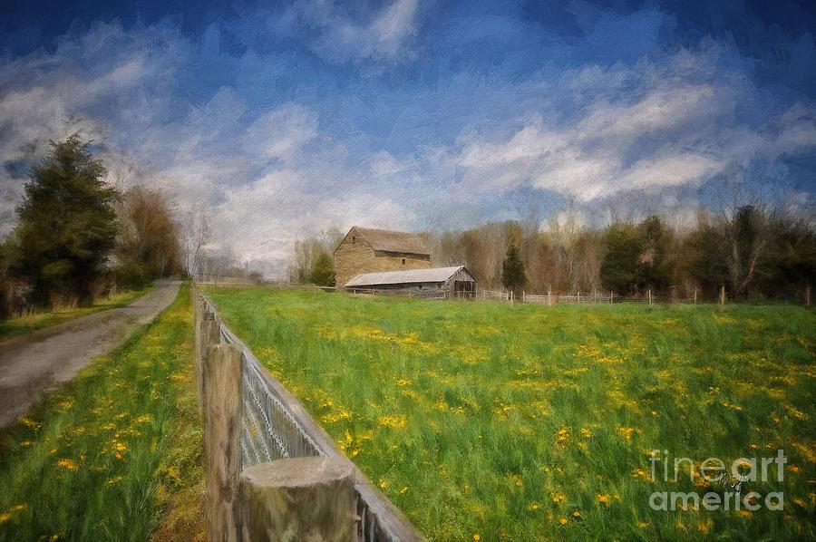 Barn Digital Art - Stone Barn On A Spring Morning by Lois Bryan