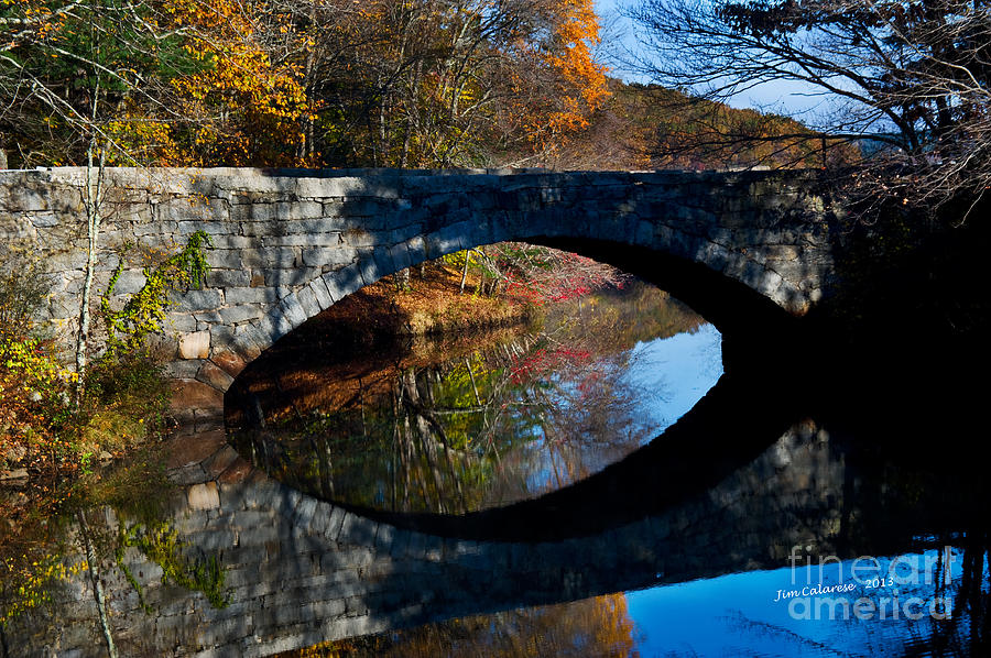 Stone Bridge With Arch Taken In The Fall In New England Photograph - Stone Bridge by Jim  Calarese