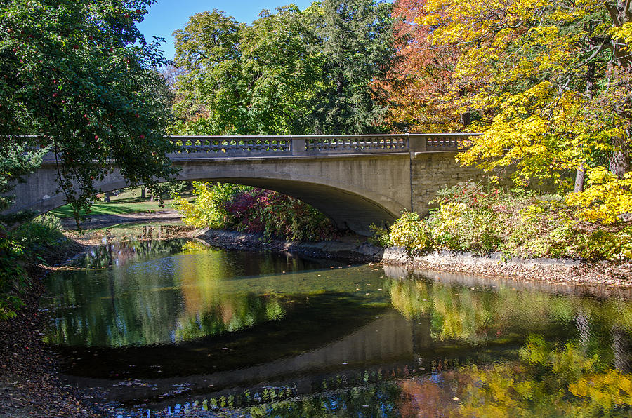 Stone Photograph - Stone Bridge Over Pond by Susan McMenamin