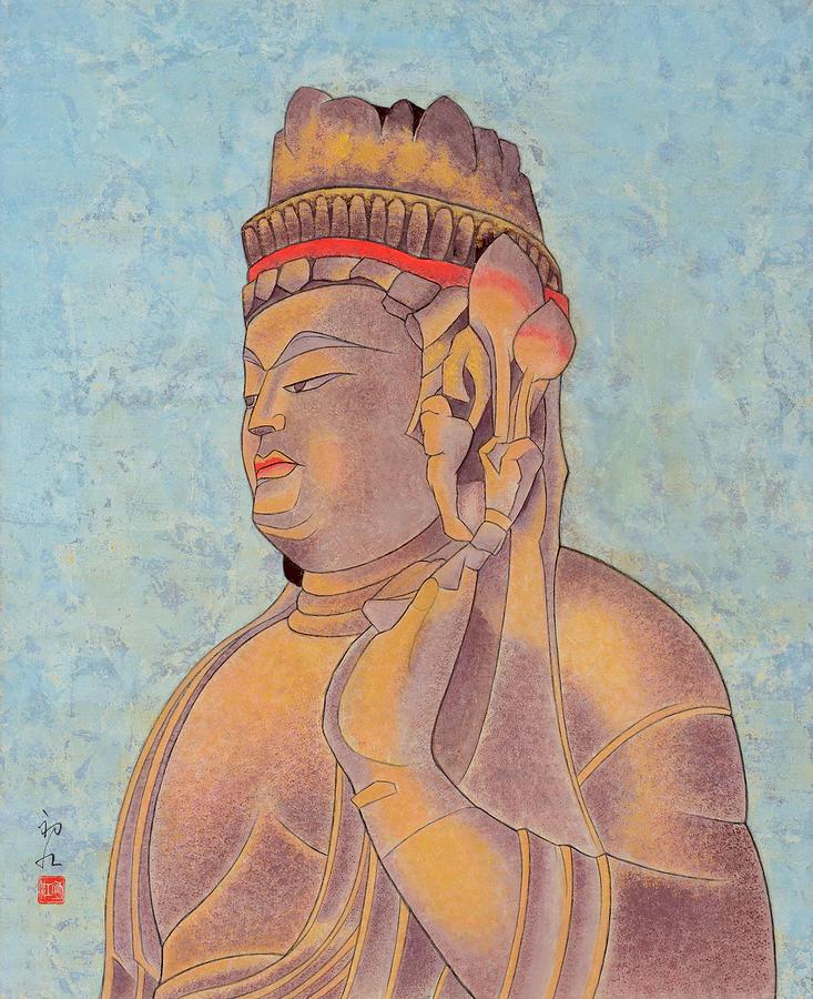 Japanese Painting - Stone Buddha / Purity by Hatsue Inoue