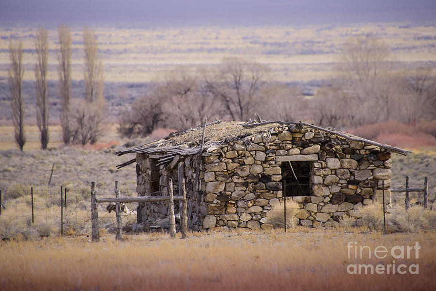 Historic Photograph - Stone Cabin In The Big Smoky Valley by Janis Knight
