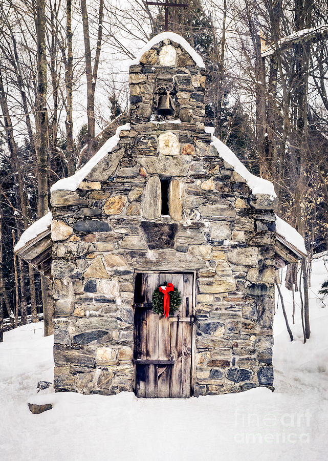 Chapel Photograph - Stone Chapel In The Woods Trapp Family Lodge Stowe Vermont by Edward Fielding