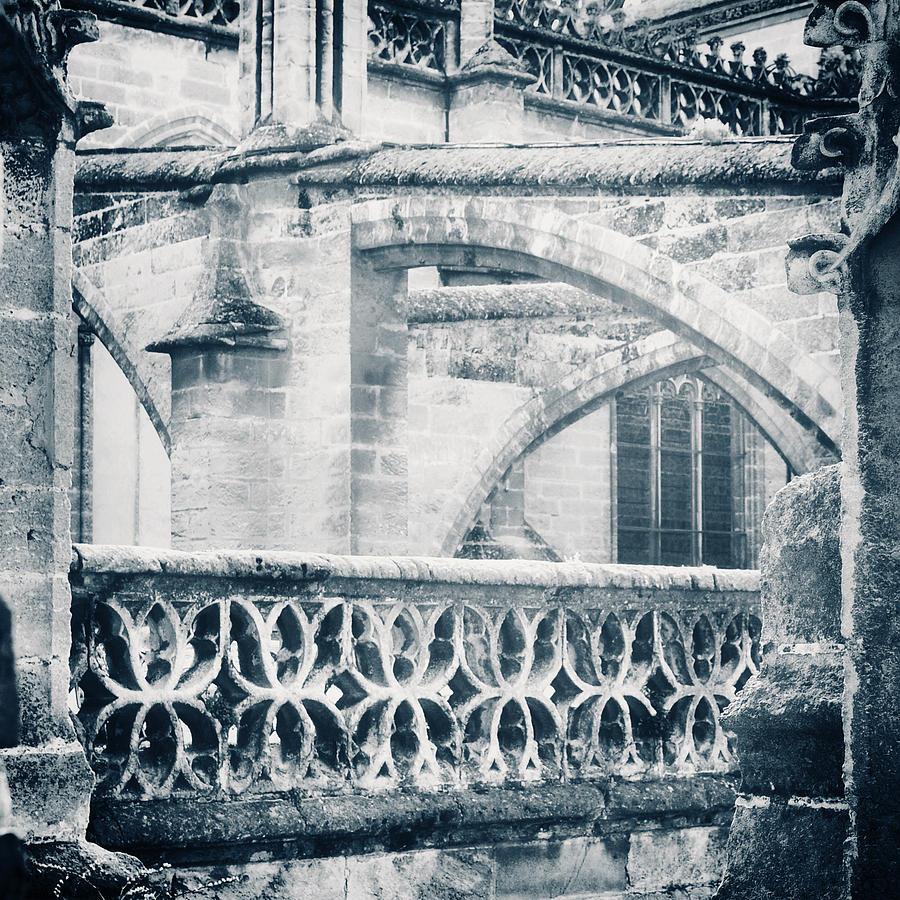 Arches Photograph - Stone Church Arches In Blue by Angela Bonilla