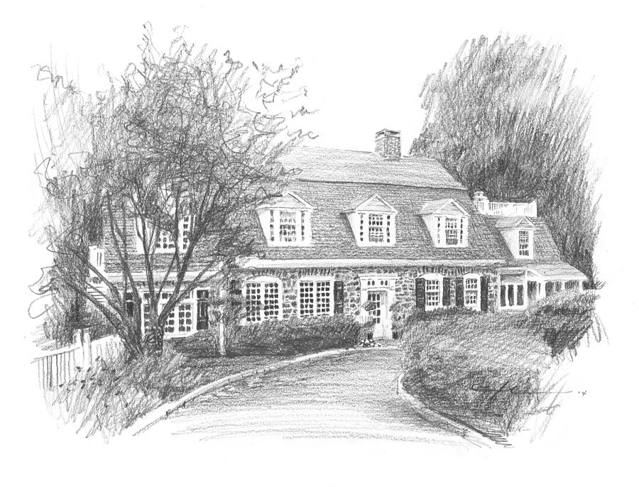 Stone Cottage Pencil Drawing Drawing by Mike Theuer