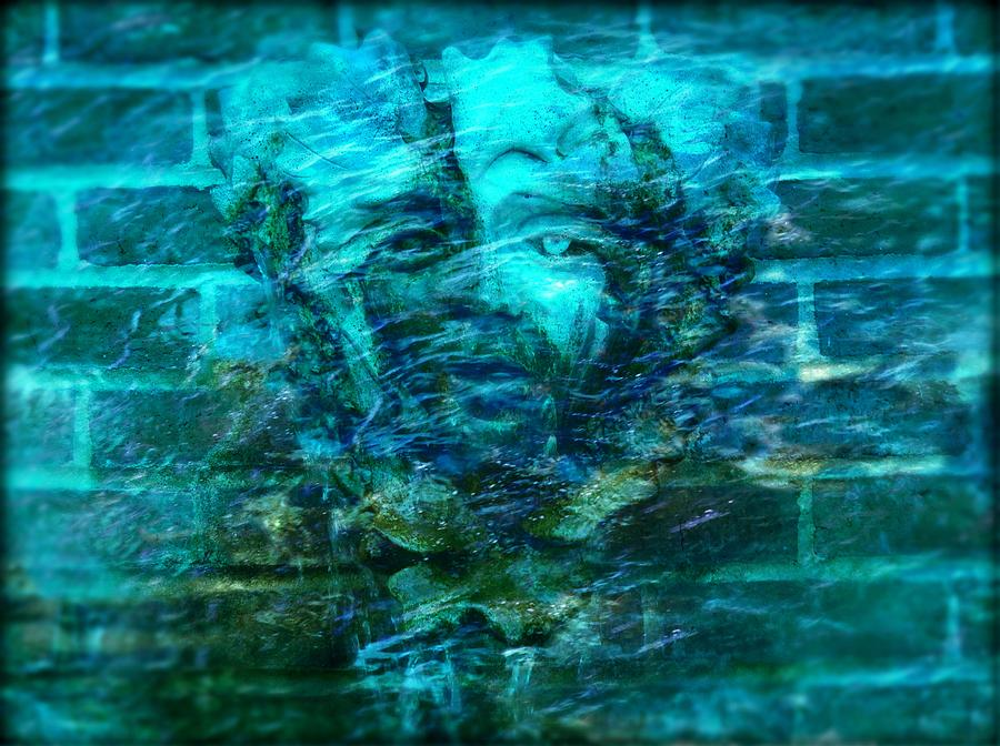 Fontain Digital Art - Stone Face Under The Water by Lilia D