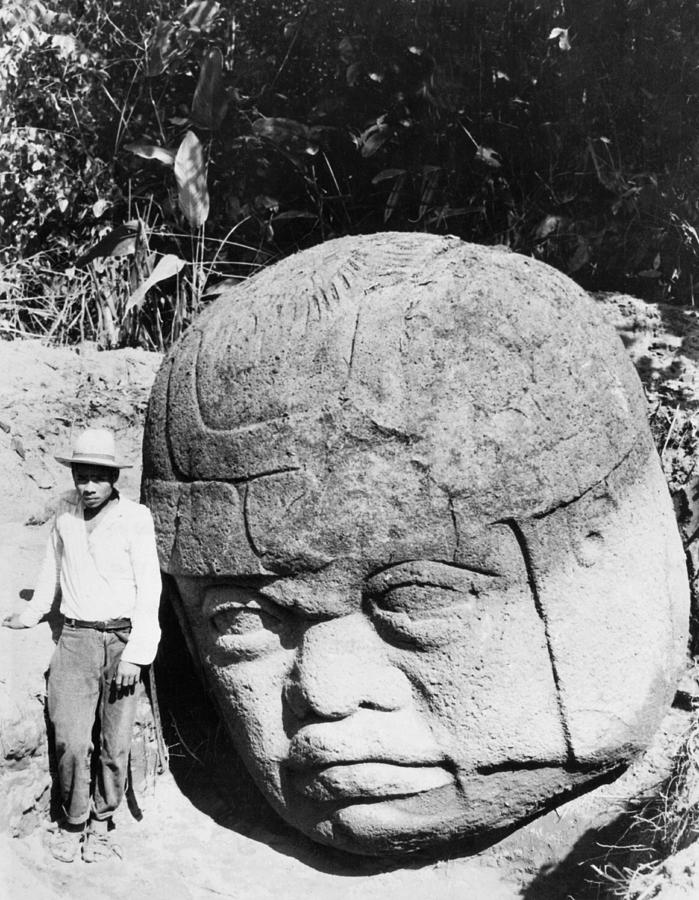 1930's Photograph - Stone Heads Found In Mexico by Underwood Archives