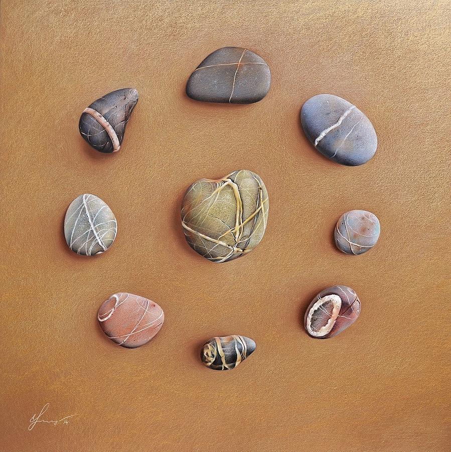 Symbolic Drawing - Stone Letters by Elena Kolotusha
