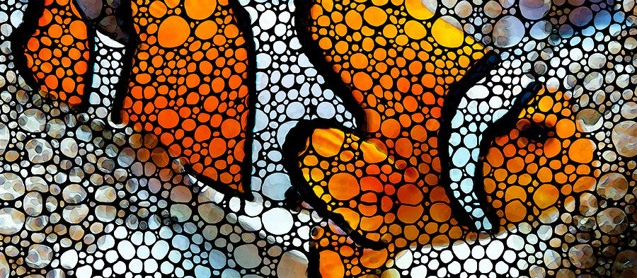 Fish Painting - Stone Rockd Clown Fish by Sharon Cummings by Sharon Cummings