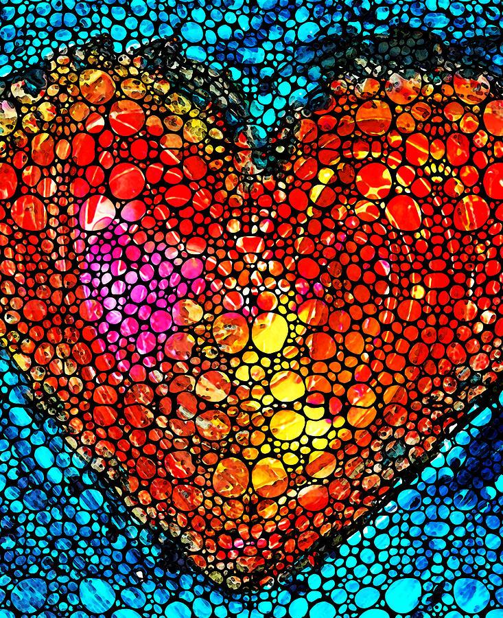 Sharon Cummings Painting - Stone Rockd Heart - Colorful Love From Sharon Cummings by Sharon Cummings