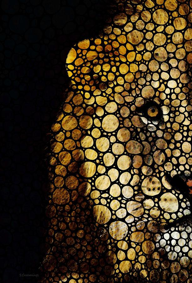 Lions Painting - Stone Rockd Lion - Sharon Cummings by Sharon Cummings