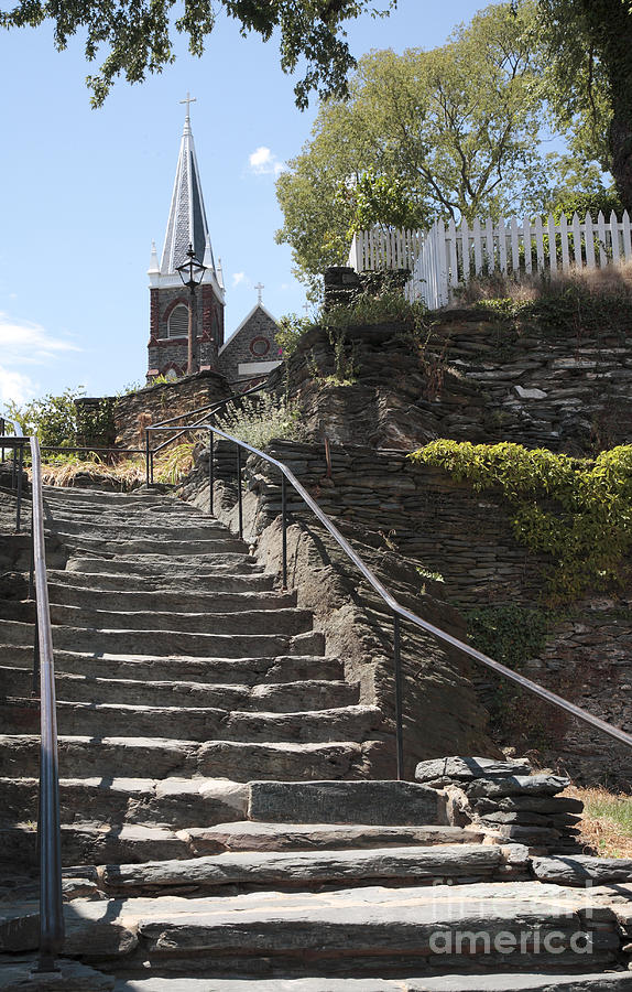 Civil War Photograph - Stone Steps And Saint Peters Church At Harpers Ferry by William Kuta