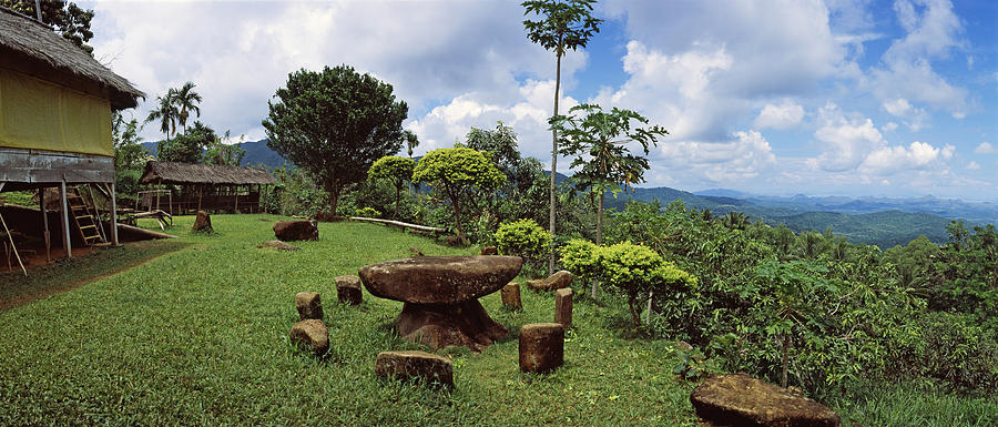 Color Image Photograph - Stone Table With Seats, Flores Island by Panoramic Images