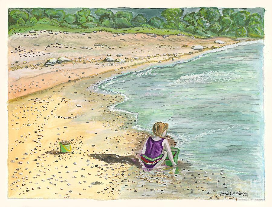 Beach Painting - Stone Treasures by Janis  Cornish