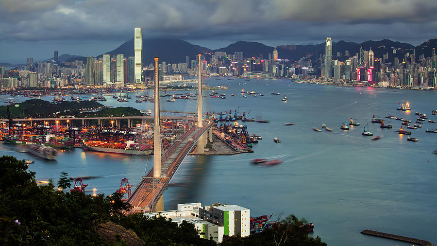 Stonecutter Bridge, Hong Kong Photograph by William C. Y. Chu