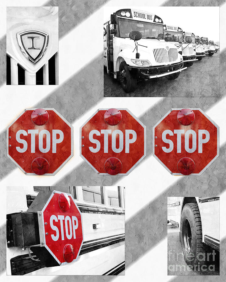 Bus Photograph - Stop For Students Painterly Bw Red Signs by Andee Design