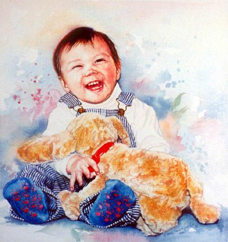 Baby Portrait Painting - Stop Tickling by Hanne Lore Koehler