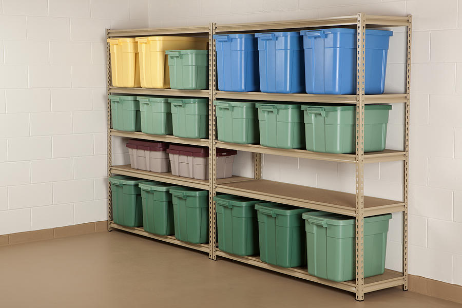Storage Containers on Shelf Photograph by DonNichols