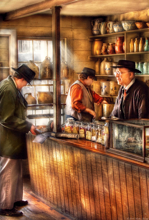 Savad Photograph - Store - Ah Customers by Mike Savad